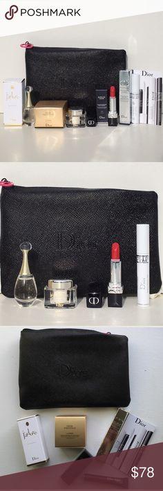 "🆕 Dior Exclusive Luxury 6Pc Set! 🆕 Dior Exclusive Luxury 6Pc Set! Includes: Dior Prestige LA CREME Exceptional Regenerating Creme, J'adore, Rouge Dior Compfort & Wear Lipstick in Matte Red, Diorshow Maximizer 3D Triple Volume Plumping Lash Primer, PLUS Dior Textured Black Cosmetic Case w/Iconic Christian Dior Charm Zipper Pull Measures 5""L x 7 1/2""W. PLUS: 1 Dior Addict It-Lash That I Added, All Wrapped in Classic Dior Print White Tissue Paper! Sephora Makeup"