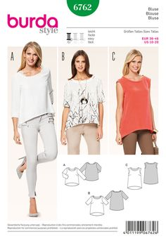 three pull-on blouses, no closures. casual boxy style with extended back part. the wide round neck is highlighted by different facings.