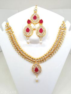 Checkout this latest Jewellery Set Product Name: *Elite Fusion Jewellery Sets* Base Metal: Brass Plating: Brass Plated Stone Type: Ruby Type: Necklace Earrings Maangtika Multipack: 1 Country of Origin: India Easy Returns Available In Case Of Any Issue   Catalog Rating: ★4.2 (6596)  Catalog Name: Kempu stone or Ruby jewellery Twinkling Fusion Jewellery Sets CatalogID_3837855 C77-SC1093 Code: 99-18774323-921