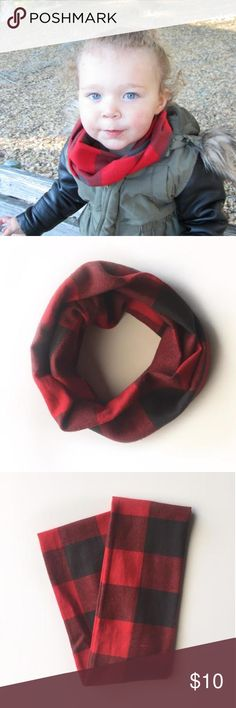 """Handmade Grey & Red Buffalo Plaid Infinity Scarf This sweet handmade infinity scarf was made by me! It is in a brushed 100% cotton fabric, measuring 5"""" W and 21"""" L looped. All edges are sewn and clean, no rough edges. It's super warm and incredibly soft, perfect for fall and winter. Ideal for ages 1-5. Smoke free home. Just let me know when you're ready to purchase and I'll make a bundle just for you! **Can be bundled, bundle discount does not apply** Accessories"""