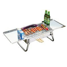 Stainless steel portable and foldable barbecue grill with food plate for outdoor hikingopen size93534255CM -- See this great product.
