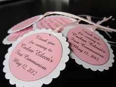 First Communion Favor Tags by boutiquesheek on Etsy, $10.50. Had these made for Caes party