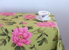 Green Tablecloth housewarming gift floral kitchen decor summer