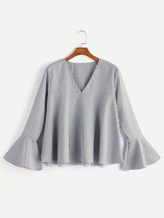 Shop V Neckline Fluted Sleeve Gingham Top online. SHEIN offers V Neckline Fluted Sleeve Gingham Top & more to fit your fashionable needs. Bell Sleeve Blouse, Bell Sleeves, Fashion Clothes, Fashion Outfits, Spring Shirts, Ladies Dress Design, Chiffon Tops, Gingham, Blouses For Women