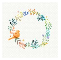 Watercolor leaves wreath with a bird Premium Vector Wreath Watercolor, Watercolor Leaves, Floral Watercolor, Painting & Drawing, Watercolor Paintings, Watercolors, Corona Floral, Save The Date Designs, Hand Lettering