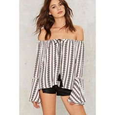 Bare Clause Off-the-Shoulder Top ($58) ❤ liked on Polyvore featuring tops, blouses, white top, white off shoulder blouse, print blouse, off the shoulder tops and off the shoulder blouse