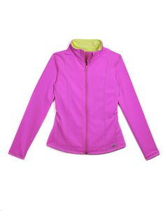- Allover Marble Print Pattern- Athletic jersey knit yoga jacket with contrasting inside collar- Full front zip- Stand collar- Long sleeves- Reflective logo print. Jack And Jill, Every Girl, Polyester Spandex, Magenta, Love Fashion, Zip Ups, Long Sleeve, Sleeves