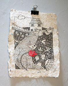 The Cottage Garden Original Illustration pen & by EmmaGilesArt