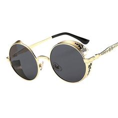 9d895a44fc Vintage Gothic Round Steampunk Sunglasses Men Retro Unique Carving Frame  Mirrored Sun Glasses For Male Cool