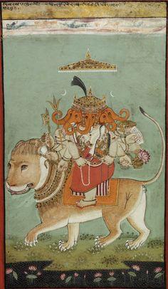 An Esoteric Form of Ganesha (Heramba Ganapati), the God of Good Fortune. 18th C. Mewar, India