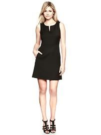 Stretch split-neck dress in black #travel #outfits #fashion