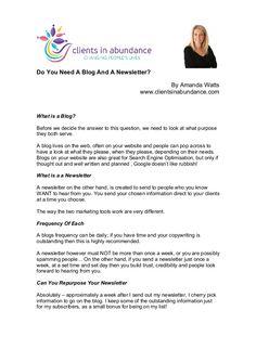 Do You Need A Blog And A Newsletter  by Amanda Watts via slideshare #health #wellness #fitness #marketing