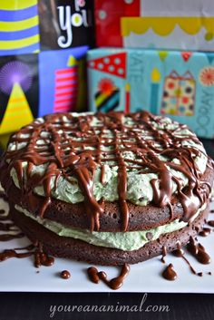 Brownie and Mint Chocolate Chip Ice Cream Cake (Gluten-Free, Dairy-Free, White Sugar-Free). Let's celebrate!