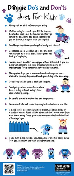 Doggie Do's and Don'ts For Kids - Infographic Dog safety for kids how to approach a dog safely