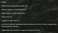 Prices for Seirian's Mantra collection.  www.seirian.me
