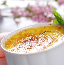 Crème brûlée, a lovely custard with caramelized sugar from England.