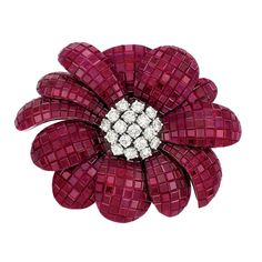 """18k White Gold, Invisibly-Set Ruby And Diamond Flower Pendant/Brooch, Signed """"Alexis""""   -   Doyle New York"""
