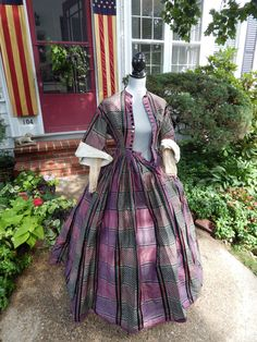 """Museum Quality Antique Victorian Nineteenth Century Civil War ERA1860's Gown   eBay shermarieeliabeth; silk taffeta, New Hampshire estate; 11"""" opening at sleeves;center bone under front buttons, boning in back, small watch pocket in bodice, lined with brushed cotton; 7.5"""" cotton hem lining; bodice: 32""""; waist: 23""""; skirt: waist: 24""""; skirt length: 42.5-47""""; hem width: 177"""""""