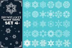 Decorative snowflakes vector shapes set 4 for winter and Christmas projects. Format: Vector Ai, Eps, PSD + Transparent PNG. --- More Vector Shapes: --- More Christmas/Winter Graphics: