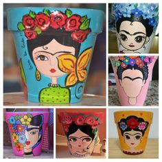 Flower Pot Art, Flower Pot Crafts, Clay Pot Crafts, Painted Plant Pots, Painted Flower Pots, Tin Can Crafts, Diy And Crafts, Bottle Art, Bottle Crafts
