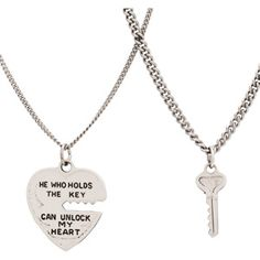 "Sterling+Silver+Heart+and+Key+Pendant+Set,+18"" ... Too cute."
