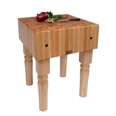 """BoosBlock AB Prep Table with Butcher Block Top Size: 30"""" W x 30"""" D by John Boos. $1089.00. 24"""" L x 30"""" W x 34"""" H - 245 lbs.. 24"""" L x 24"""" W x 34"""" H - 205 lbs.. 18"""" L x 24"""" W - 34"""" H - 160 lbs.. 18"""" L x 18"""" W x 34"""" H - 135 lbs.. Crafted with End-Grain Maple top and Wood Legs.. AB07 Size: 30"""" W x 30"""" D Features: -10'' End grain work surface. Construction: -Solid hard maple construction. Color/Finish: -Cream finish with beeswax.-Penetrating oil finish top. Dimensions: -Stands 34''..."""
