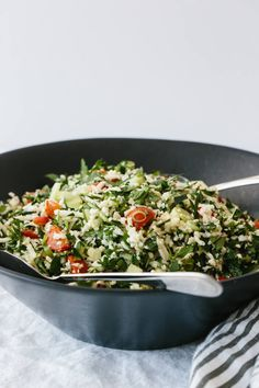 (gluten-free, paleo, Cauliflower rice tabbouleh is a tasty spin on tabbouleh and swaps bulgur with cauliflower rice, making this lemon herb salad gluten-free and paleo-friendly. Lunch Recipes, Healthy Recipes, Paleo Side Dishes, Health 2020, Herb Salad, Keto Cauliflower, Lemon Herb, Eat To Live, Paleo Whole 30