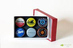 Bottlecap Magnets, Beer 6-Pack Gift Box. $10.00, via Etsy.