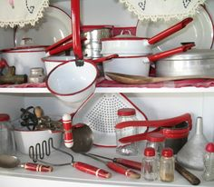 We're feeling the red and white vintage kitchen vibe these days!