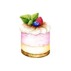Anna Suprunenko on Behance Cake Drawing, Food Drawing, Dessert Illustration, Watercolor Illustration, Food Design, Watercolor Food, Watercolour, Cute Food Art, Food Sketch