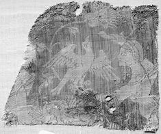 Fragment, silk brocade 14th century, Lady training a falcon