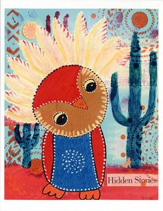 Southwestern Owl Print of Mixed Media Painting by CarolaBartz