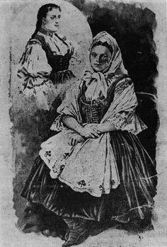Litografie A. Liebschera: Žena z Nového Hrozenkova, 1894.