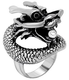 Men Jewelry - SA392 Mens Vintage Dragon Stainless Steel RingSilver *** Visit the image link more details.