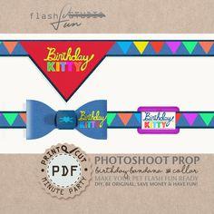 cat birthday bowtie bandana collar, funny bowtie, pet photo prop, paper bowtie, printable, id tag, kitty birthday collar, cat fashion collar by FlashFun on Etsy https://www.etsy.com/listing/524970967/cat-birthday-bowtie-bandana-collar-funny