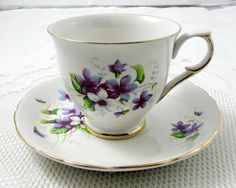 Old Foley Tea Cup and Saucer with Purple Flowers, Vintage Bone China