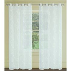 Farah Faux Embroidered Floral Sheer Grommet Curtains. Panel light filtering fabric allows just the right amount of light in. Grommet top panels showcases a faux embroidered floral. Delicate and romantic, Farah panels are the perfect finishing touch.