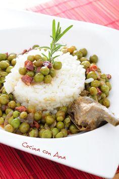 Receta de guisantes especiados con arroz