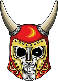 illustration of warrior undead skull with fantastic medieval red helmet.