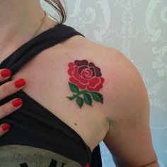 England Rugby rose tattoo. To mark 99 day countdown to Rugby World Cup 2015.