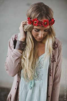 Scarlet Floral Crown Headband by Three Bird Nest | Women's Boho Clothing