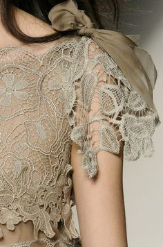 Alberta Ferretti Spring 2011 Beige lace over nude colored dress with silk moss green ribbon