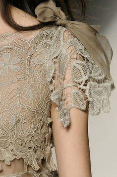 Alberta Ferretti Spring 2011 Beige lace over nude colored dress with silk moss green ribbon