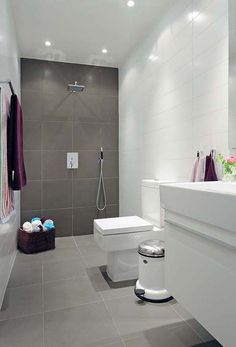 Chic White and Gray Low Budget Bathroom Remodel with Hi-Gloss White Bathroom Vanity and Gray Ceramic Tiles Flooring
