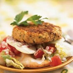 Open-Faced Falafel Burgers | MyRecipes.com  These Open-Faced Falafel Burgers are a delicious spin on a Middle Eastern vegetarian sandwich typically stuffed in a pita