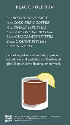 Black Hole Sun | Cocktail Catalog #cocktails #whiskey #bourbon #coffee #coldbrew Drink Bar, Bar Drinks, Yummy Drinks, Beverages, Bourbon Cocktails, Coffee Cocktails, Classic Cocktails, Whisky, Bourbon Whiskey