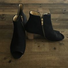 Paul Green peep toe booties Black leather peep toe booties by Paul Green. Extremely comfortable. Zippers on each side of foot. Worn only a few times Anthropologie Shoes Ankle Boots & Booties