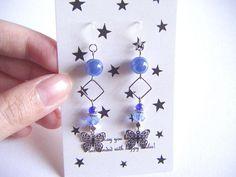 Blue dangling earrings butterfly earrings blue earrings with