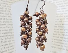 GOOD TUTO:  Chocolate Pearl Cluster Earrings – Rings and Things