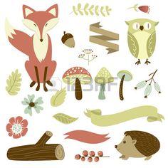 Bos herfst, bos dieren, bloemen en linten Stockfoto